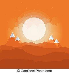 góry, górki, natura, sylwetka, rysunek, wektor, tło, poziomy, pustynia krajobraz