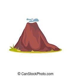 góry, gorący, wulkan, vulcano, wektor, ilustracja, white., ...