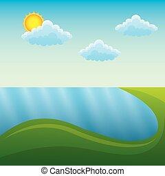 góry, kasownik, słońce, scena, rzeka krajobraz