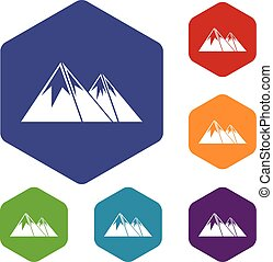 góry, komplet, śnieg, ikony