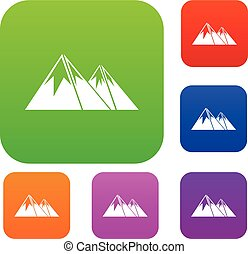 góry, komplet, śnieg, zbiór