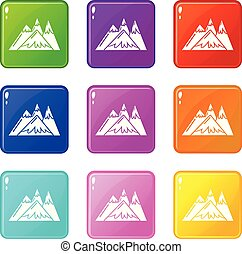 góry, komplet, ikony, kolor, zbiór, 9