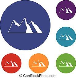 góry, komplet, ikony