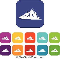 góry, komplet, kanadyjczyk, płaski, ikony