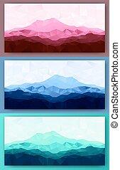 góry, komplet, trójkąt, niski, poly