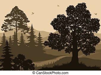 góry, krajobraz, drzewa, ptaszki