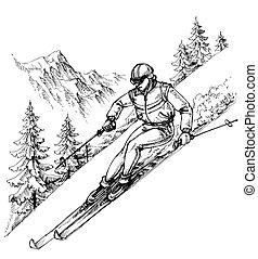 góry, krajobraz, narciarz