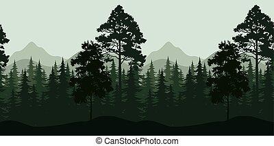góry, krajobraz, seamless, drzewa