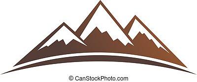 góry, logo., wektor, graficzny zamiar