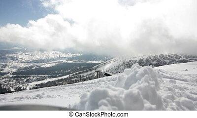 góry, malowniczy, śnieżny, słoneczny dzień, prospekt