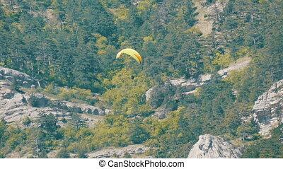 góry, muchy, skalisty, przeciw, paraglider, zielony, żółte...
