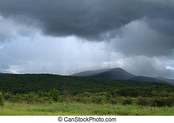 góry, na, deszcz