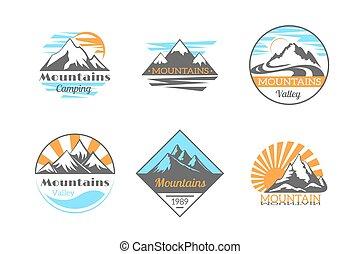 góry, na wolnym powietrzu, obozowanie, góra, set., etykiety, wektor, skała, logo