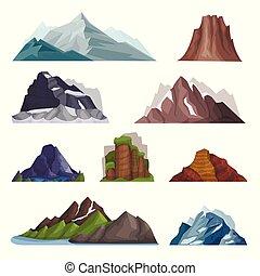 góry, natura, komplet, masyw górski, wektor, rozmaitość, ilustracje, góra