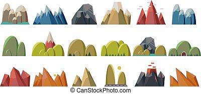 góry, natura, komplet, masyw górski, wektor, rozmaitość, tło, ilustracje, góra, biały