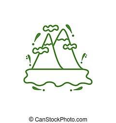góry, odizolowany, śnieg, ikona
