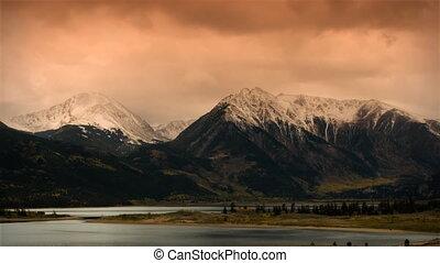 góry, osika, timelapse, -, śnieg, jesień, kolor, burza, (1118), wcześnie, wschód słońca