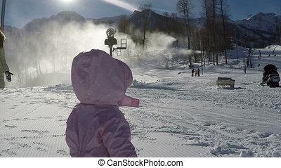 góry, pieszy, jego, zima, macierz, słoneczny, dziecko, mały, dzień