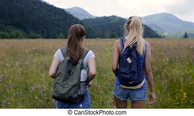 góry, pieszy, kobieta, dwa, młody