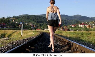 góry, pieszy, kobieta, popędzać