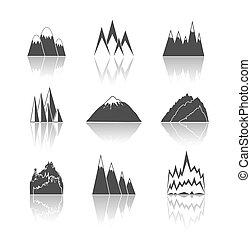 góry, piktogramy, komplet, ikony