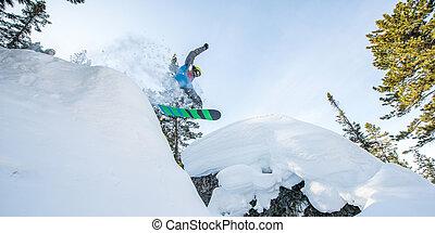 góry, przelotny, snowboarder