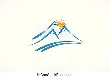 góry, słońce, logo