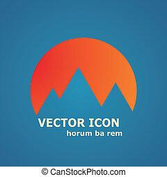 góry, słońce, wektor, ikona