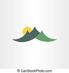 góry, słońce, zielony, ikona