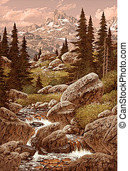 góry, skalisty, potok