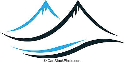 góry, stromy, szpice, logo