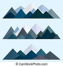 góry, styl, eps10, góra, set., ilustracja, polygonal, wektor, poly, ridges., niski