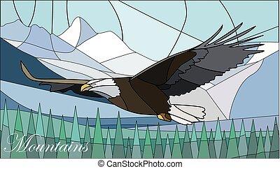 góry, styl, plamione-szkło, ilustracja, eagle.