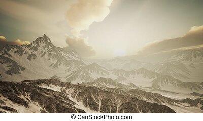 góry, szczyty, promienie, zachód słońca