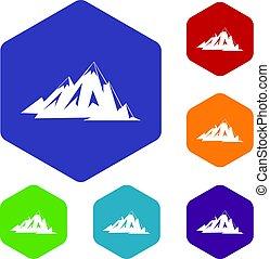 góry, sześciokąt, komplet, kanadyjczyk, ikony