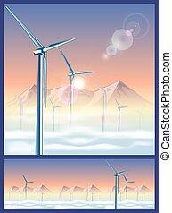 góry, turbiny, wiatr