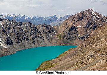 góry, turkus, tien, ala-kul, jezioro, shan, alpejski