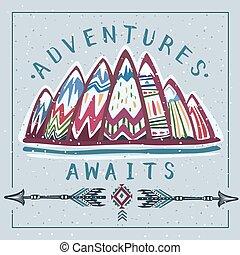 góry, tytuł, przygody, lets, inspiracyjny, iść