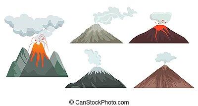 góry, volcano., podróżni, cielna, górki, wspinaczkowy, siła...