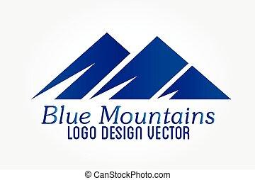góry, wektor, logo, ikona
