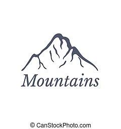 góry, wektor, logo, ilustracja