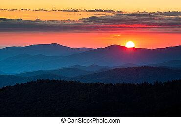 góry, wielki, sceniczny, narodowy park, kopuła, clingmans, zachód słońca, dymny