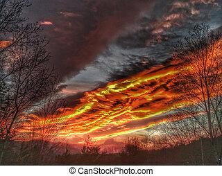 góry, wielki, zima, dymny, nc, dramatyczny, zachód słońca,...