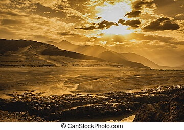 góry, wschód słońca, krajobraz