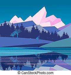 góry, wspaniały, krajobraz