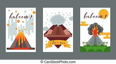 góry, wulkaniczny, wybuch, natura, afisz, tapeta, wybuch,...