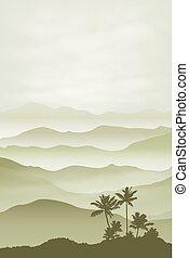 góry, z, dłoń drzewo, w, przedimek określony przed rzeczownikami, fog., tło.