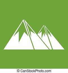 góry, zielony, śnieg, ikona