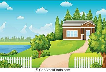 góry, zielony, jezioro, krajobraz, dom