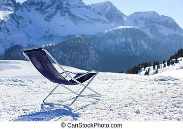 góry, zima, łóżko, słońce